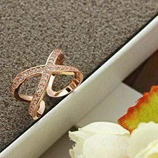 【ヒット商品】オシャレアイテム 金 ジルコニア リング ピンクゴールド(リング(指輪))