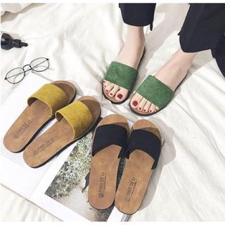 フラットシューズスリッパサンダルミュールパンプス靴ローヒールイエロー黒グリーン(サンダル)