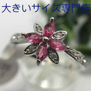 22号★ルビーとキュービックジルコニアの華奢なお花リング★レディース指輪(リング(指輪))