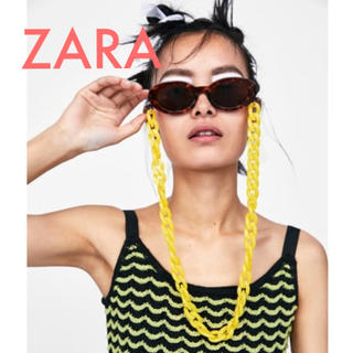 ザラ(ZARA)の今期ZARA チェーン付きオーバル サングラス 未使用 袋付きヴィンテージ(サングラス/メガネ)