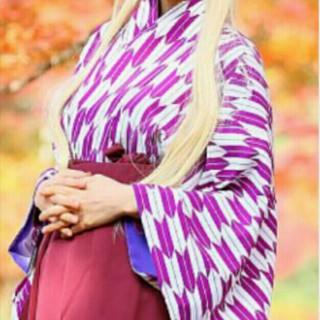 着物 振り袖 矢羽根柄 紫(振袖)