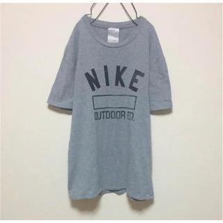NIKE ナイキ グレー ロゴ シンプルデザイン Tシャツ XL オーバーサイズ(Tシャツ/カットソー(半袖/袖なし))