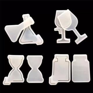︎レジン型  ワイングラス 香水瓶 試薬ボトル 砂時計 4種セット 0335(各種パーツ)