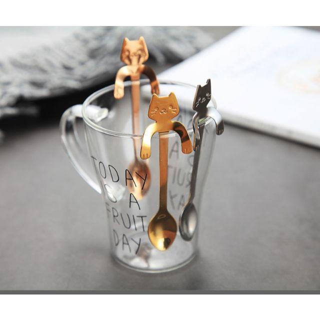 猫スプーン♪★ねこティースプーン4本セット★ 新品未使用品 送料無料 インテリア/住まい/日用品のキッチン/食器(食器)の商品写真