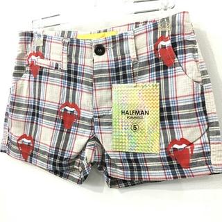 ハーフマン(HALFMAN)の新品 定価13440円 HALFMAN リップ プリント チェック ショーツ(ショートパンツ)
