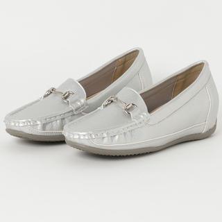 アルファキュービック(ALPHA CUBIC)のふかふかクッション 歩きやすい 美脚 インソール♡シルバー ローファー(ローファー/革靴)