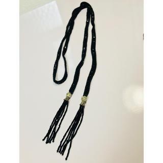 パピヨネ(PAPILLONNER)のビーズネックレス 黒×シルバー(ネックレス)