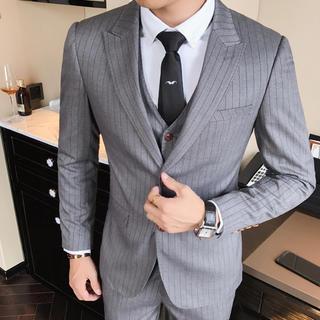 メンズスーツ 3点セット ビジネス 結婚式 灰色 送料込み 即購入ok(スーツジャケット)