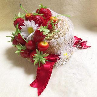 アンジェリックプリティー(Angelic Pretty)の新品 AngelicPretty Ribbon Berry ミニストローHat(麦わら帽子/ストローハット)