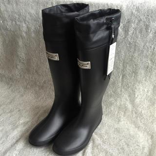 ⭐️超目玉‼️黒 Mサイズ 丸めて収納レインブーツ⭐️携帯 完全防水 レジャー(レインブーツ/長靴)