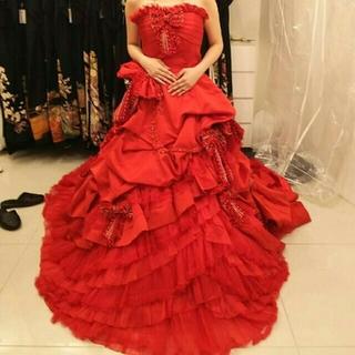 Barbie 風 ビジューリボン 赤ドレス カラードレス ウェディング(ウェディングドレス)