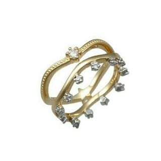 K18YG×K18WGダイヤ 2連ピンキーリング(リング(指輪))