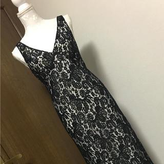 ナイン(NINE)の新品タグ付 NINE レースタイトドレス size1 DVF party 結婚式(ミディアムドレス)