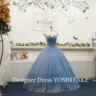 ウエディングドレス(パニエ無料サービス) ブルーグレイチュール 披露宴/二次会(ウェディングドレス)