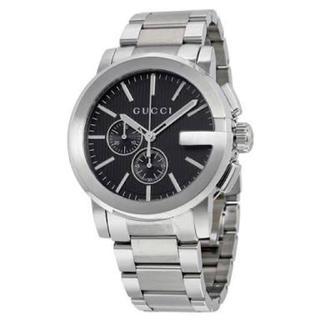 グッチ(Gucci)の本物 グッチ GUCCI Gクロノ クオーツ 腕時計 YA101204 ブラック(腕時計(アナログ))