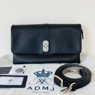 エーディーエムジェイ(A.D.M.J.)の新品同様 ADMJ ダノビオ アールデコ Wポーチ ショルダーバッグ 黒 スワロ(ショルダーバッグ)