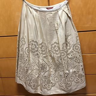 アマカ(AMACA)のアマカ/スカート アイボリー ベージュ 36 絹 綿(ひざ丈スカート)