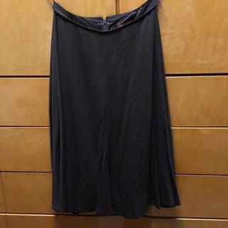 アマカ(AMACA)のアマカ/スカート ネイビー 膝下 レーヨン キュプラ(ひざ丈スカート)