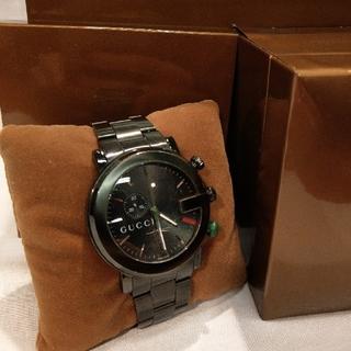 グッチ(Gucci)の【美品】グッチ Gフェイス メンズ時計 クロノグラフ クォーツ ブラック(腕時計(アナログ))