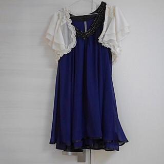 ソワール(SOIR)の青ドレス ボレロ付き☆結婚式 二次会 謝恩会 パーティ 万能なドレスです(ミディアムドレス)