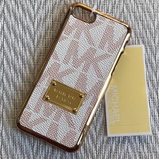 マイケルコース(Michael Kors)のiPhone7 / 8 ホワイト/レッド 金縁 モノグラム ハードケース(iPhoneケース)