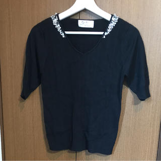 シマムラ(しまむら)のしまむら ビジュー付き 半袖ニット(ニット/セーター)