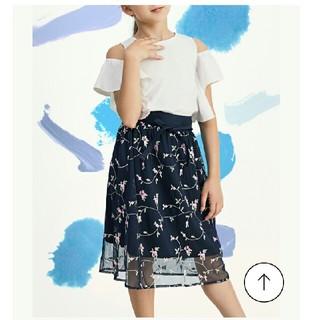 ジーユー(GU)の新品♡ 150cm GU フラワー 刺繍 チュール ロングスカート(スカート)