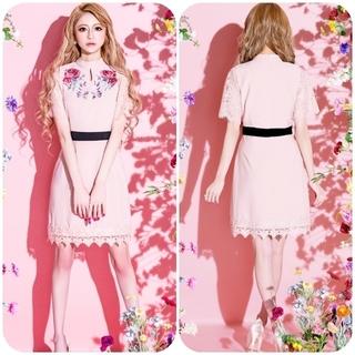 エミリアウィズ(EmiriaWiz)の新品✨EmiriaWiz「スタンドカラーローズ刺繍ワンピース」ピンク・Sサイズ (その他)