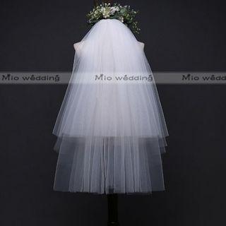高品質✿ウエディングベール✿横幅300cm・2層・シンプル✿ベールダウン✿MEU(ウェディングドレス)