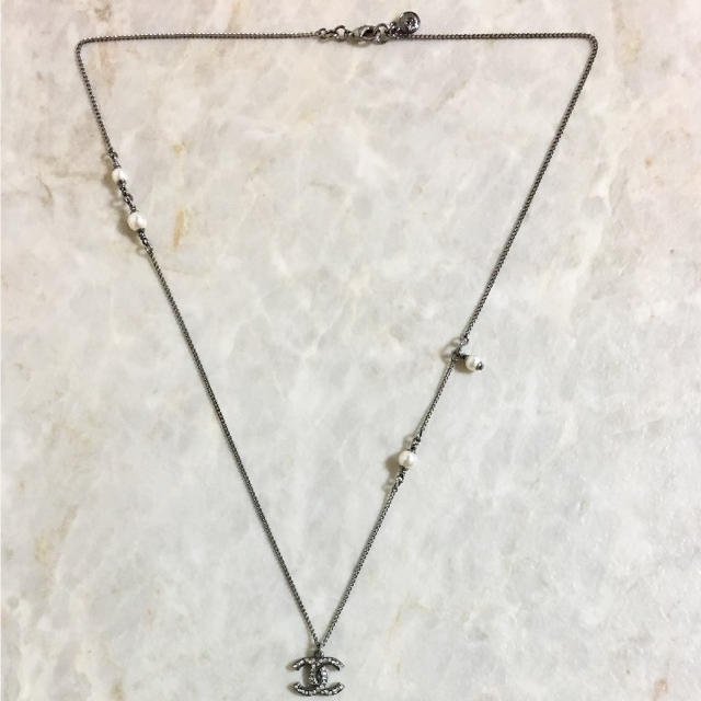 3078268be61f9d CHANEL(シャネル)の正規品 シャネル ネックレス パール ラインストーン ココマーク シルバー 銀