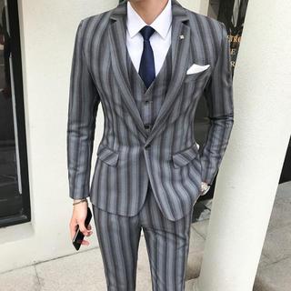 灰色 即購入ok 送料込み 結婚式 【S-5XL】スリム ビジネス 入園式(スーツジャケット)