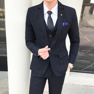 紺色 【S-5XL】スリム メンズスーツ 3点セット 結婚式(スーツジャケット)