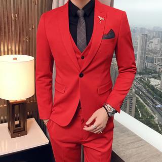 赤 メンズスーツ 3点セット 結婚式 送料無料 即購入ok スリム(スーツジャケット)