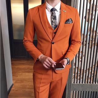 即購入ok 送料込み メンズスーツ 3点セット 結婚式 スリム(スーツジャケット)