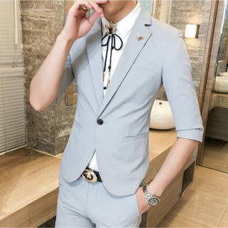灰色 メンズスーツ 2点セット 半袖 夏物 送料無料 即購入ok(スーツジャケット)