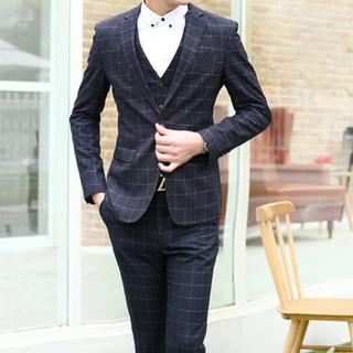 ブラック メンズスーツ 3点セット スリム ビジネス 結婚式 即購入ok(スーツジャケット)