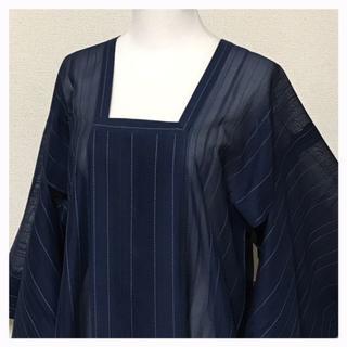 美品 透け感 夏コート 上質 正絹 紺 縞模様 身丈長め 中古品(着物)
