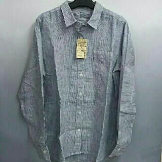 ムジルシリョウヒン(MUJI (無印良品))の新品 無印良品 フレンチリネン洗いざらし ストライプシャツ・ネイビー・XL (シャツ/ブラウス(長袖/七分))