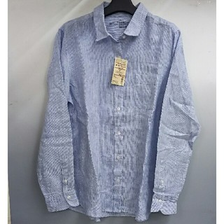 ムジルシリョウヒン(MUJI (無印良品))の新品 無印良品 フレンチリネン洗いざらし ストライプシャツ・ブルー・XL(シャツ/ブラウス(長袖/七分))