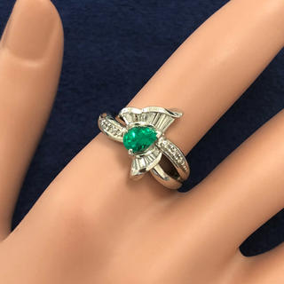 特価 エメラルド ダイヤモンド pt900 プラチナ900 リング 指輪(リング(指輪))
