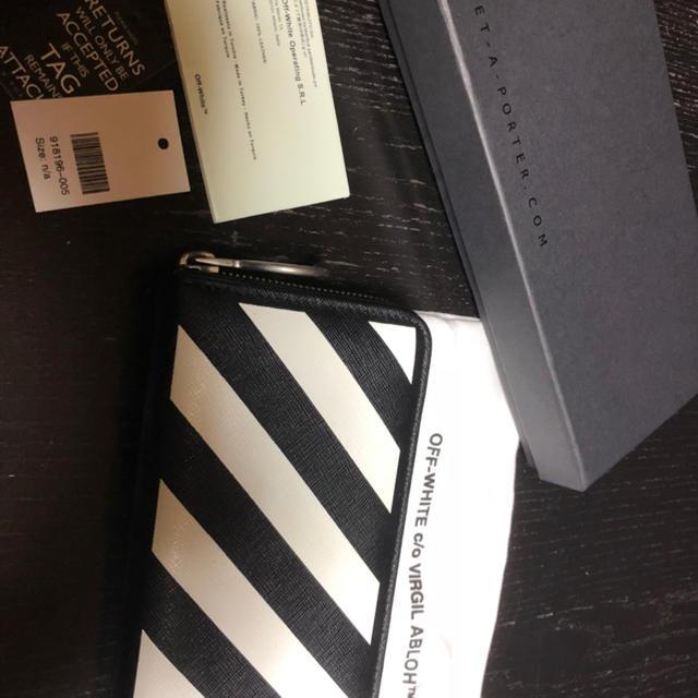 63376c458fa7 OFF-WHITE - OFF-WHITEストライプレザージップ長財布の通販 by 前ちゃん ...