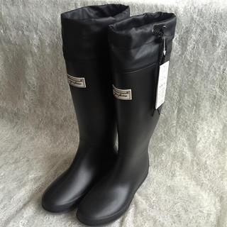 ⭐️超目玉‼️黒 Lサイズ 丸めて収納レインブーツ⭐️携帯 完全防水 レジャー(レインブーツ/長靴)