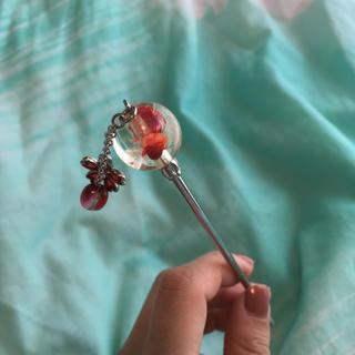 かんざし ヘアアクセ 赤 オレンジ ピンク 花
