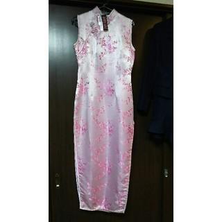 ボディライン(BODYLINE)の未使用タグ有りロングチャイナドレス・ライトピンク系(衣装)