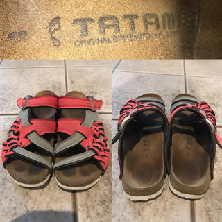 タタミ(TATAMI)のTATAMI BIRKENSTOCK オレンジ×グレー編み込みサンダル 42(サンダル)