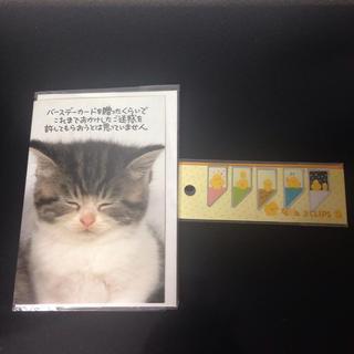 【新品】ねこのバースデーカードとToicaクリップのセット(カード/レター/ラッピング)