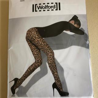 ウォルフォード(Wolford)の新品ウォルフォード  レオパード柄黒タイツ  Mサイズ(タイツ/ストッキング)
