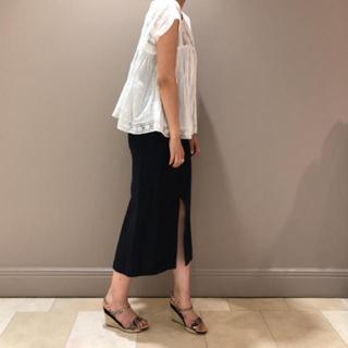 デミルクスビームス(Demi-Luxe BEAMS)の美品♡デミルクスビームス リネンレーヨンタイトスカート ネイビー 紺 34サイズ(ひざ丈スカート)