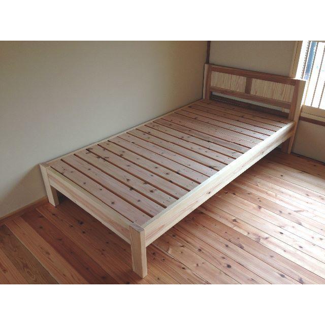 湿気対策☆自然素材のすのこベッド(国産杉)☆ インテリア/住まい/日用品のベッド/マットレス(シングルベッド)の商品写真