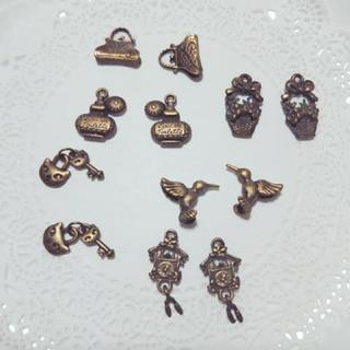 チャーム ペア猫ちゃん 鍵 香水瓶 バック  花籠 バード 鳩時計 6種類 ペア(各種パーツ)